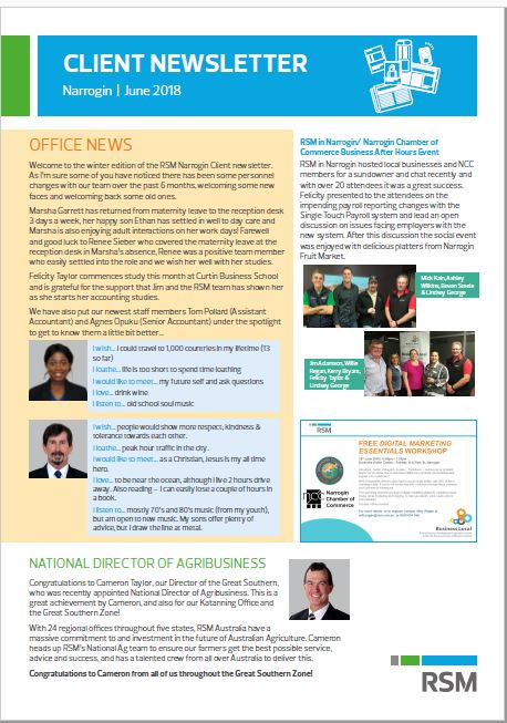 Office Newsletter | Rsm In Narrogin Local Client Newsletter Rsm Australia