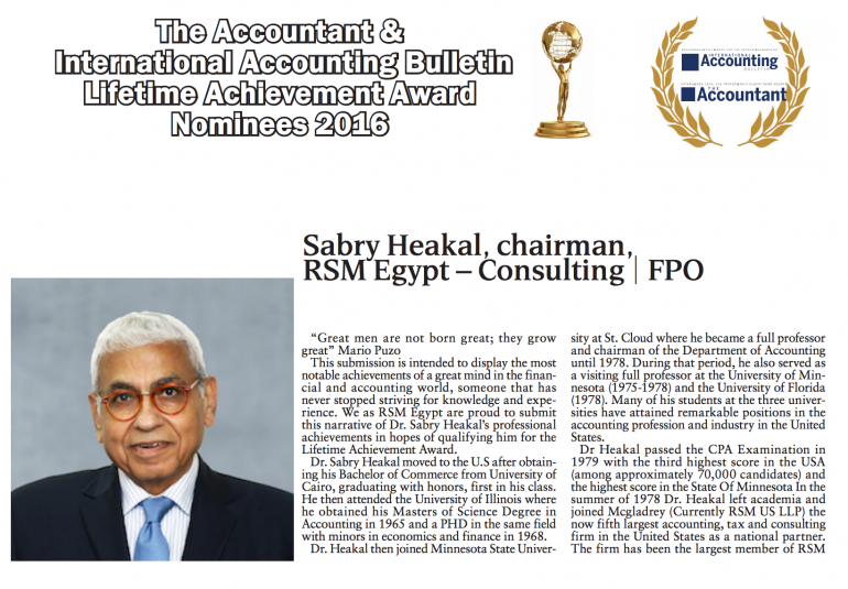 Dr. Sabry Heikal Nominated for 2016 TA & IAB lifetime achievement award
